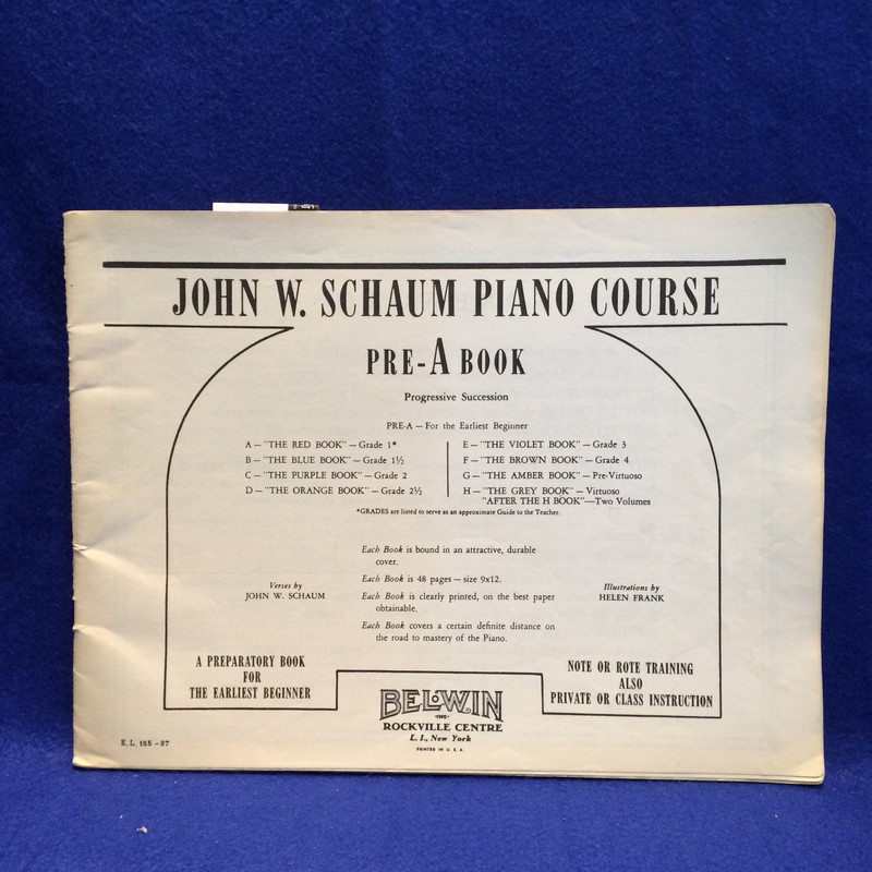John W.Schaum Piano Course PreA-Book