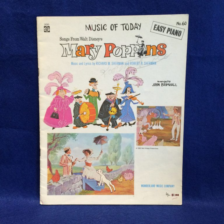 Music of Today Easy Piano Songs From Walt Disney's Mary Poppins
