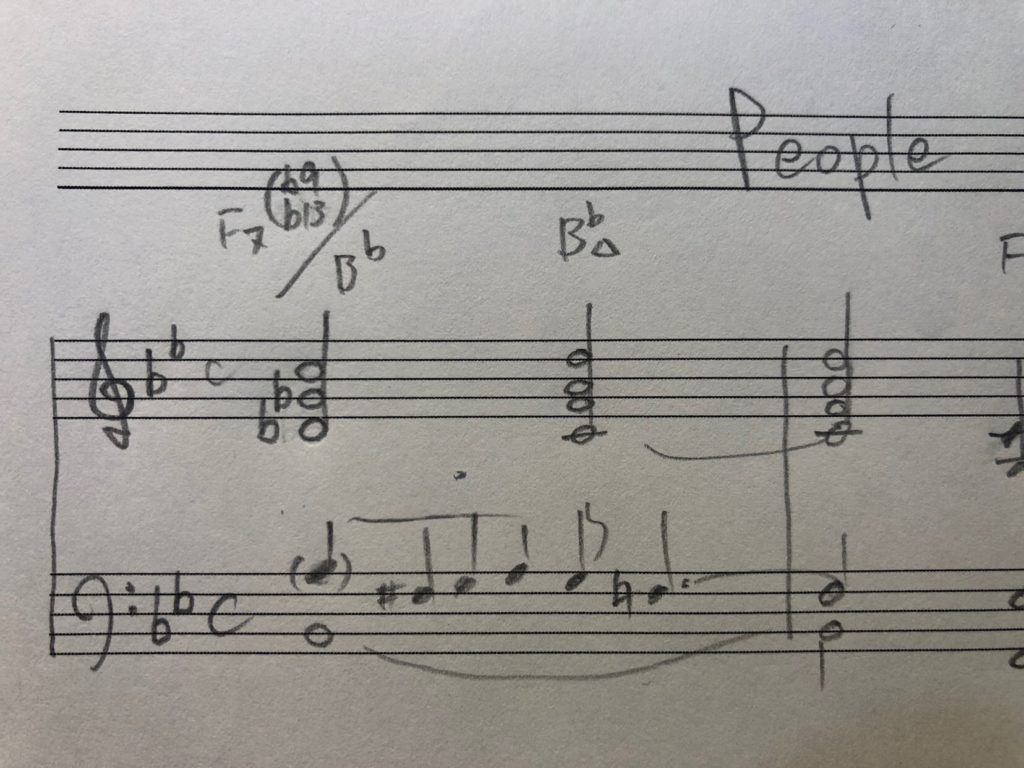 First two bars of People by Bill Evans